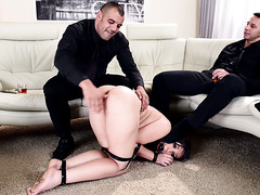 Submissive slave girl Akasha Cullen gets throated and spanked