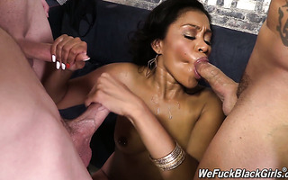 Black thot Yasmine De Leon is used by three white guys as a cum dumpster