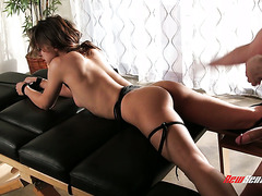 Petite sex slave Sara Luvv gets rudely throated and doggyfucked by master