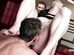 Luscious wife Veruca James plays pool and fucks her cuckold's best friend