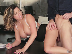 Sensational lady boss Danica Dillon bangs her handsome subordinate
