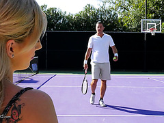 Sweet blondie Bella Rose fucks a tennis player on a lawn