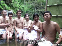 Nasty orgy with three Japanese sluts in outdoor whirlpool