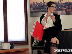 Big cocked dude fucks an Aussie secretary Yasmin Scott in all holes