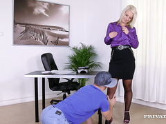 Horny boss lady Luci Angel fucks young fella in office