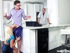 Kinky Tiffany Watson fucks uncle's stepson while he fixes water pipes