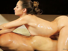 Oiled Cassidy Klein gets ass fucked after giving nuru massage
