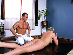 Curvy British MILF Lexi Lowe gets oiled and fucked by a masseur