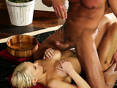 Bosomy Kenzie Taylor gets oiled and her backdoor fucked