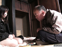 Drunk old Jap fucks his stepdaughter Mai Shimizu and falls asleep