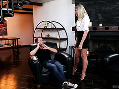 Posh MILF Lexi Lowe fucks her stepson who just broke up with his GF