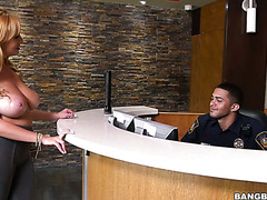 Giant tittied MILF Jazmyn seduces lucky security guard
