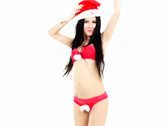 Cute Lady Dee toys pussy with bunny ears and Xmas hat on her head