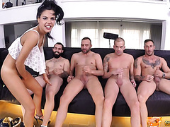 Lewd Spanish slut Apolonia Lapiedra getting gangbanged by four men