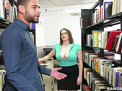 Black college stud satisfied mature BBW librarian Maggie Green at her worklace
