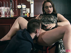Luscious Olga Cabaeva gets pounded hard in an empty bar