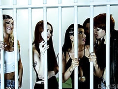 Insane lesbian orgy with five chick in a prison cell