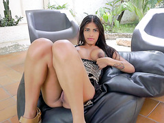 Adorable Denisse Gomez pisses in a garden and shows her beautiful pussy