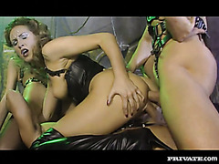 Retro vid with two mistresses in leather fucking two hunky sex slaves