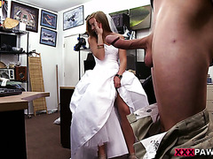 Blonde chick in wedding dress fucks on cam to get cash