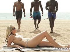 Blonde German chick Julia Pink encounters four big black cocks