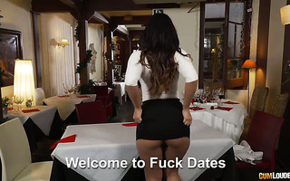 Claudia Bavel and Zoe Doll have threesome sex in fuck date cafe