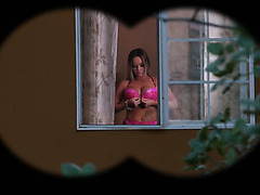 A pervy neighbor in a mask satisfies his hot neighbor Rachele Richey