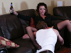 Salacious MILF Danica Dillon spreads legs after couple of beers