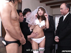 Joyful Japanese bride gets a gangbang and bukkake on her wedding night