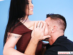 Sheridan Love pulls her enormous tits out and climbs a hard cock