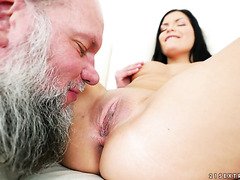 Old man fucks puts his antique cock in Annie Wolf's young pussy
