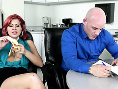 Slutty office MILF Savana Styles distracts a guy with her big tits