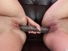 Russian girls toy each other with double headed dildo before anal threesome