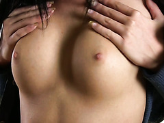 Sensual solo with Katy Visotskaya rubbing her perfect tits and virgin twat
