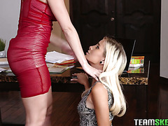 Naomi Woods submits to her lesbian boss lady Britney Amber in the office