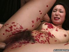 Helpless Anna gets outrageously toyed and fucked by two Japanese guys