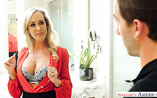 Cougarish Brandi Love seduced a handsome maintenance guy in a hotel room