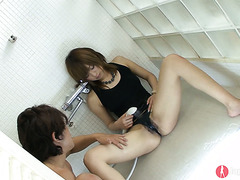 Yuri Mizuki take a shower in her clothes and shows her hairy vag