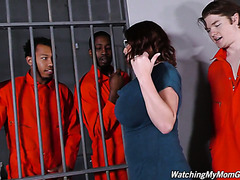 White cuckold watches his curvy stepmom Maggie Green fucking two black inmates