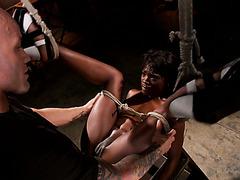 Bald white master pushes black slave bitch Ana Foxxx through hardcore orgasms