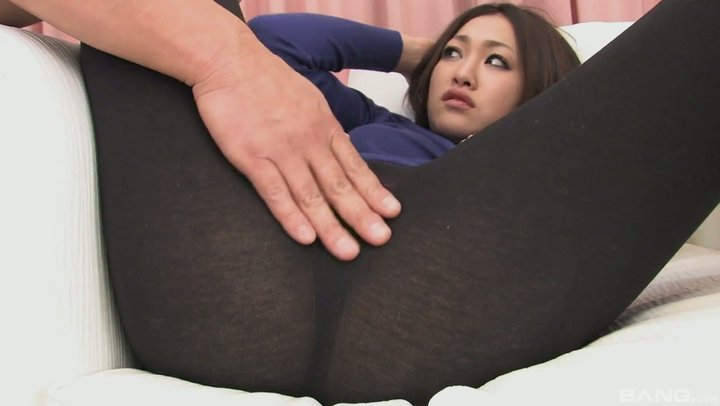 Asian girl gets toyed and fingered through ripped leggings until she squirts