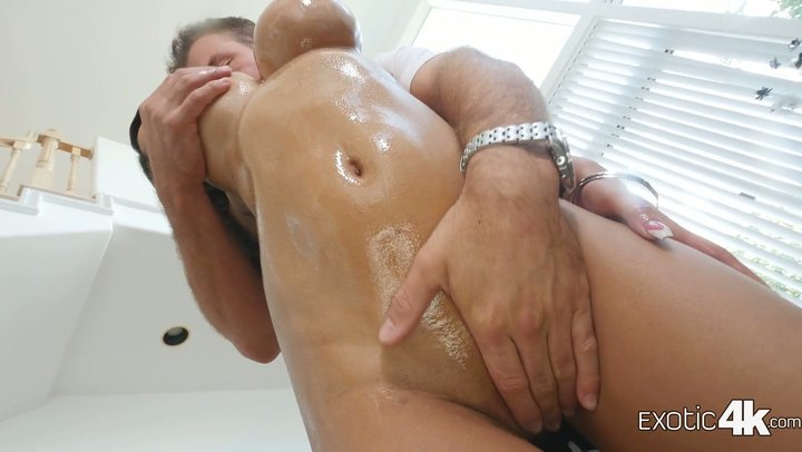 Tight bodied and busty redbone Shay Evans invites a huge white dick in her pussy