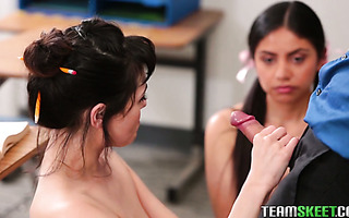 Teacher bangs his assistant Audrey Noir and college girl Rose Darling
