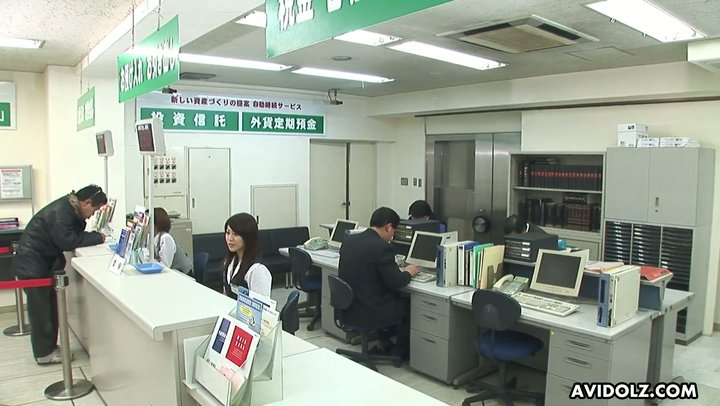 Hot bank worker Hina Aizawa serves her hairy Jap pussy for robbers