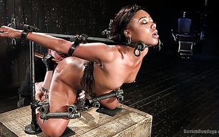 Tasty black hoe Chanell Heart becomes a fucktoy in hardcore metal bondage