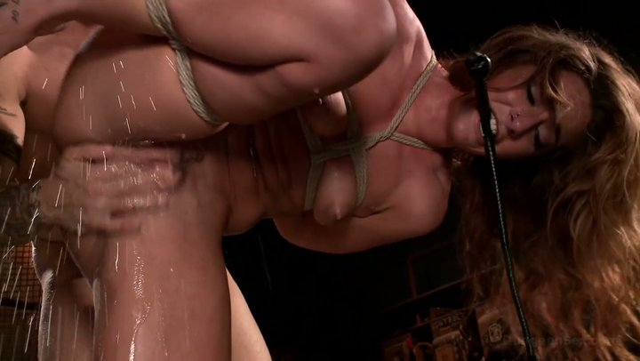 Bondaged and suspended Savannah Fox squirts on master's mean dick
