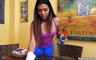 Hot Mexican housemaid Nicole is talked into having sex with employer