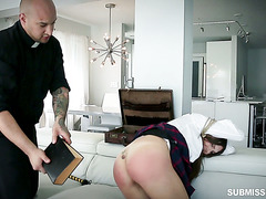 Pervy priest brings punishment on sinful ass of college girl Sadie Holmes