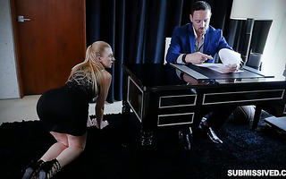 Big boss goes berserk on tight pussy of sexy blonde secretary Alexa Grace