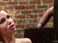Redhead mom Veronica Avluv squirts on slave's giant cock